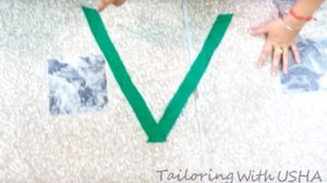 sew matching right to right making a V