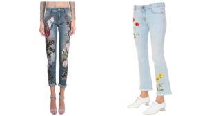 Chic Patch And Embroidery Pants