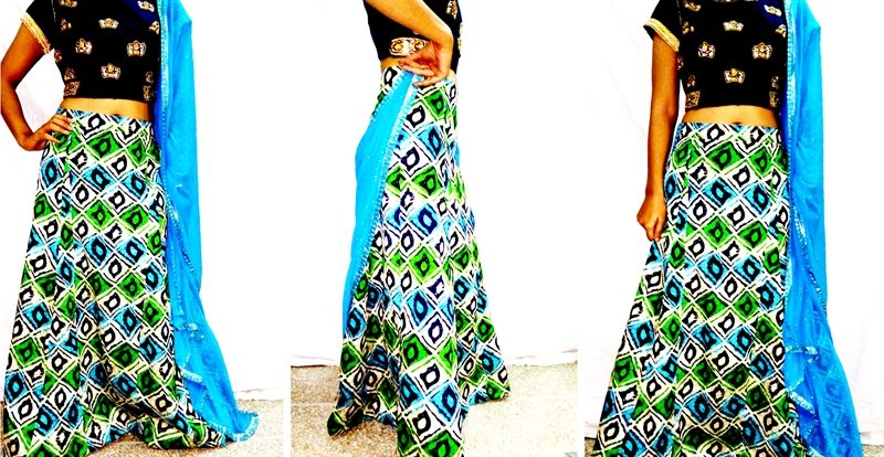 paneled a-line long skirt