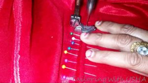 firmly sew at end of zip insertion