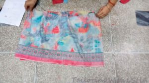 match the borders of bottom skirt right to right